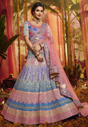 Embroidered Organza Lehenga in Light Grey and Multicolor