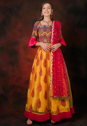Embroidered Organza Lehenga in Mustard
