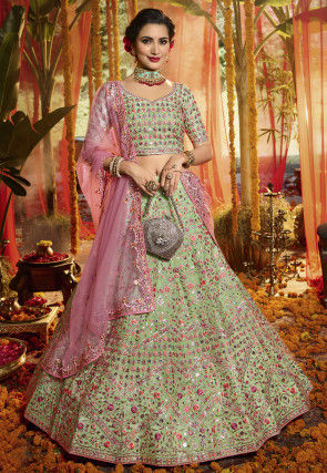 Embroidered Organza Lehenga in Pastel Green