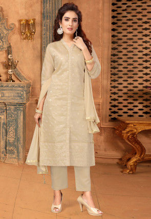 Embroidered Organza Pakistani Suit in Beige