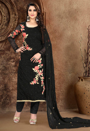 Embroidered Organza Pakistani Suit in Black