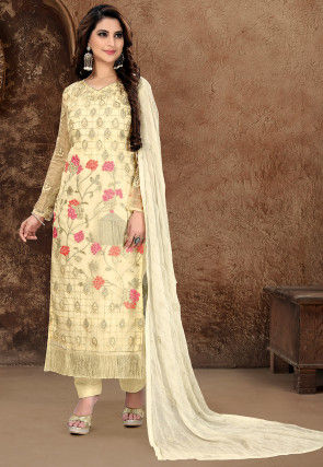 Embroidered Organza Pakistani Suit in Cream