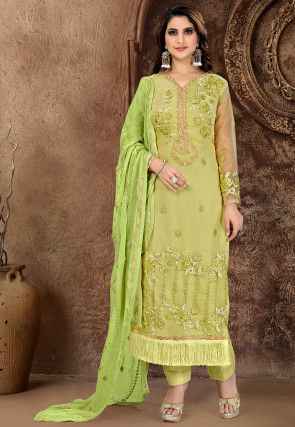 Embroidered Organza Pakistani Suit in Dusty Green