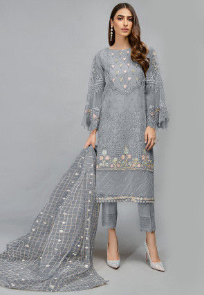 Embroidered Organza Pakistani Suit in Grey