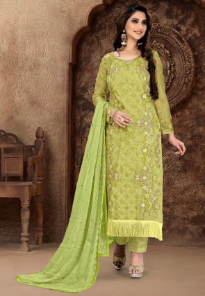 Embroidered Organza Pakistani Suit in Light Olive Green