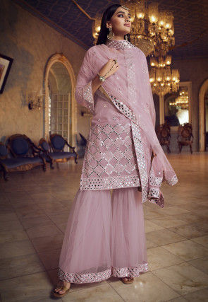 Embroidered Organza Pakistani Suit in Light Purple