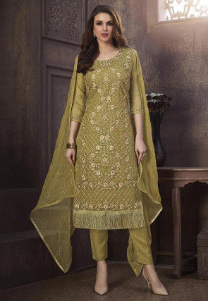 Embroidered Organza Pakistani Suit in Olive Green