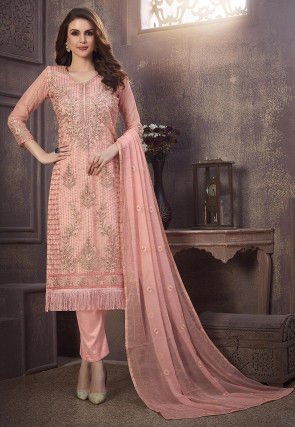 Embroidered Organza Pakistani Suit in Peach