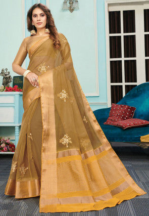 Embroidered Organza Saree in Dark Beige