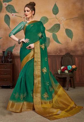 Embroidered Organza Saree in Dark Green