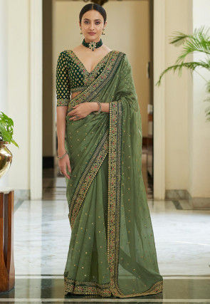 Embroidered Organza Saree in Dusty Green