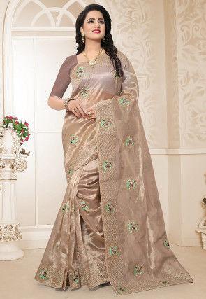 Embroidered Organza Saree in Fawn