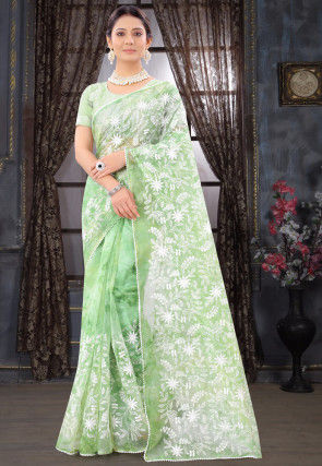 Embroidered Organza Saree in Light Green