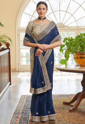 Embroidered Organza Saree in Navy Blue