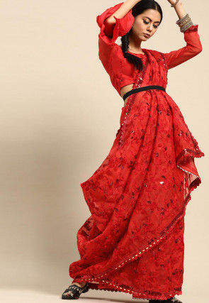 Embroidered Organza Saree in Red