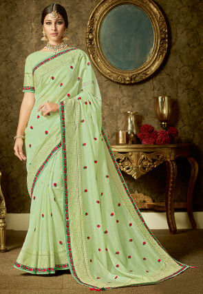 Embroidered Organza Saree in Pastel Green