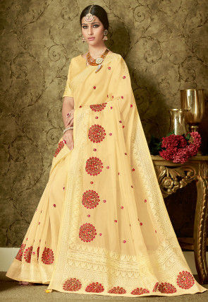 Embroidered Organza Saree in Pastel Yellow