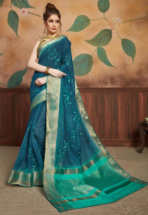 Embroidered Organza Saree in Teal Blue