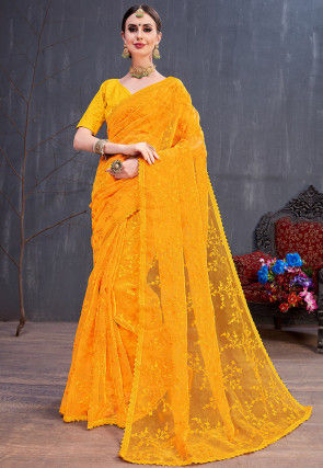 Embroidered Organza Saree in Yellow