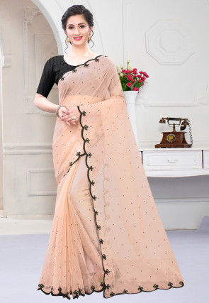 Embroidered Organza Scalloped Saree in Beige