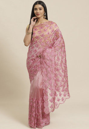 Embroidered Organza Scalloped Saree in Peach