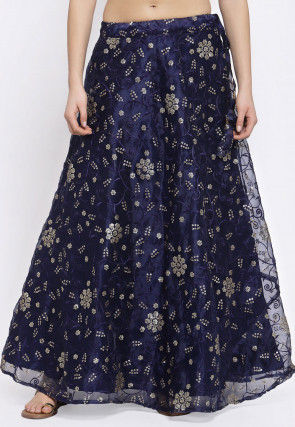 Embroidered Organza Skirt in Navy Blue
