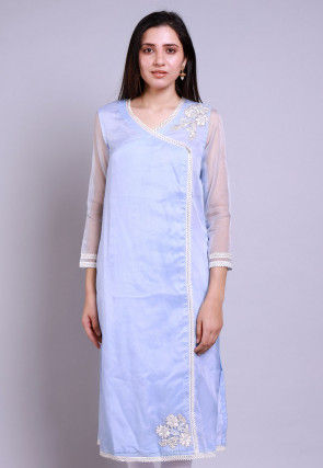 Embroidered Organza Straight Kurta in Pastel Blue