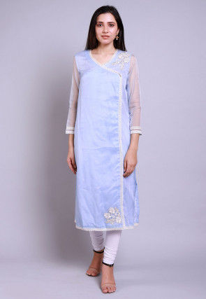 Embroidered Organza Straight Kurta Set in Pastel Blue