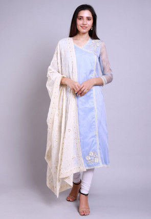 Embroidered Organza Straight Suit in Pastel Blue
