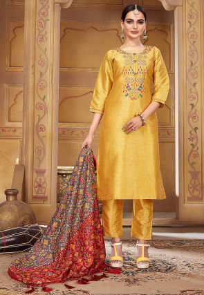 Embroidered Pashmina Silk Pakistani Suit in Mustard