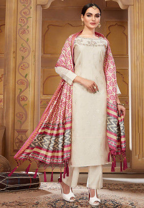 Embroidered Pashmina Silk Pakistani Suit in Off White