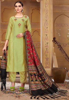 Embroidered Pashmina Silk Pakistani Suit in Pastel Green