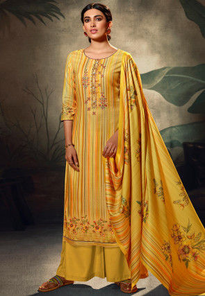 Embroidered Pashmina Silk Pakistani Suit in Yellow
