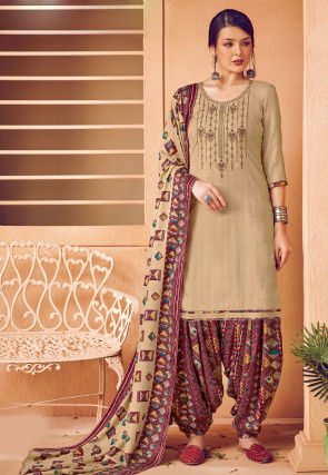 Embroidered Pashmina Silk Punjabi Suit in Beige