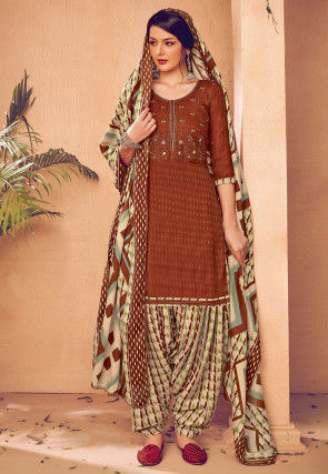 Embroidered Pashmina Silk Punjabi Suit in Brown