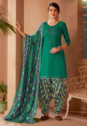 Embroidered Pashmina Silk Punjabi Suit in Teal Green