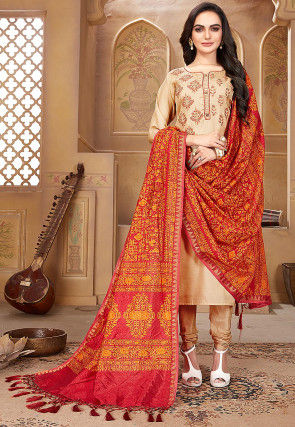 Embroidered Pashmina Silk Straight Suit in Beige
