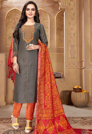Embroidered Pashmina Silk Straight Suit in Grey