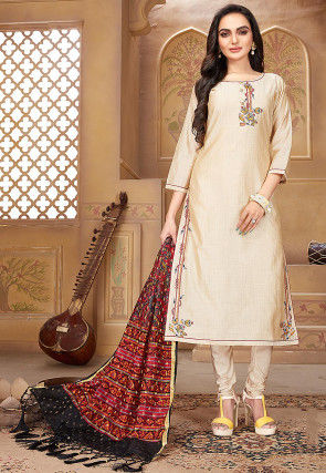 Embroidered Pashmina Silk Straight Suit in Light Beige