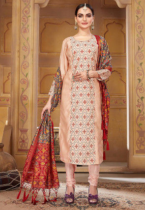 Embroidered Pashmina Silk Straight Suit in Light Peach