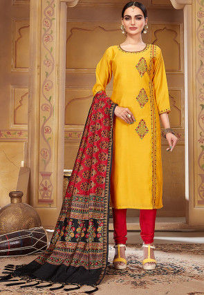 Embroidered Pashmina Silk Straight Suit in Mustard