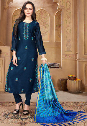 Embroidered Pashmina Silk Straight Suit in Navy Blue