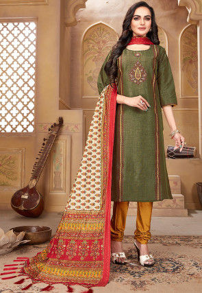 Embroidered Pashmina Silk Straight Suit in Olive Green