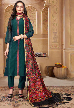Embroidered Pashmina Silk Straight Suit in Teal Blue
