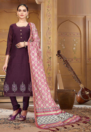 Embroidered Pashmina Silk Straight Suit in Wine