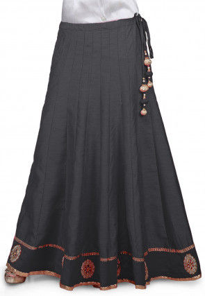 Embroidered Patch Border Bhagalpuri Silk Long Skirt in Grey