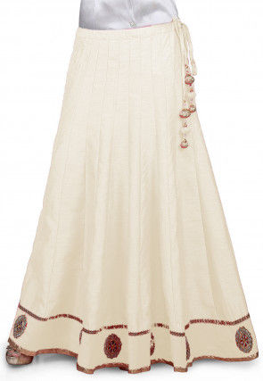Embroidered Patch Border Bhagalpuri Silk Long Skirt in Off White
