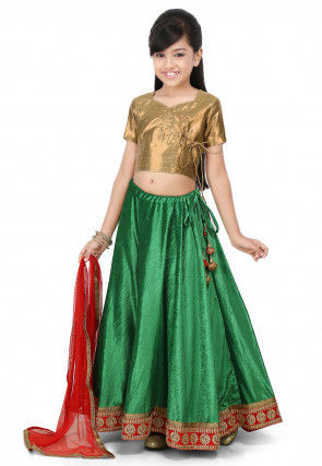Embroidered Patch Border Velvet Lehenga in Green