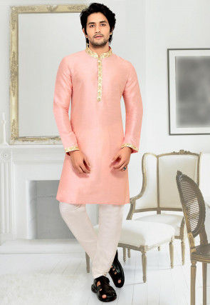 Embroidered Placket Art Silk Kurta Set in Light Pink