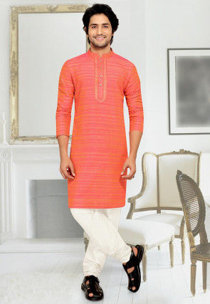 Embroidered Placket Art Silk Kurta Set in Orange